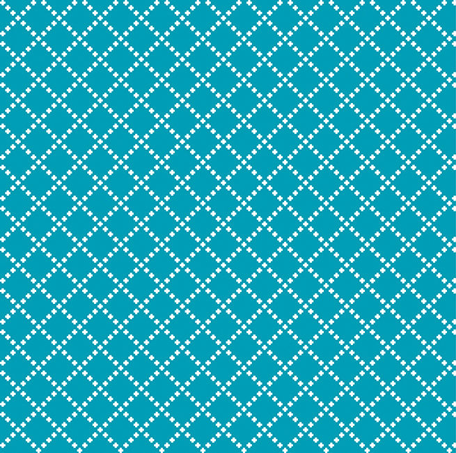Cotton Quilt Fabric Good Neighbors Cross Stitch Teal Blue - product image