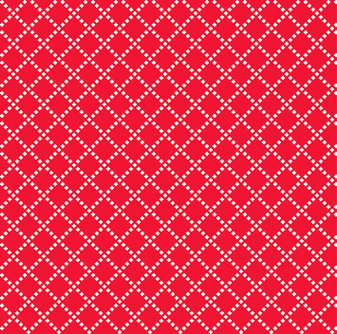 Cotton Quilt Fabric Good Neighbors Cross Stitch Tomato Red - product image