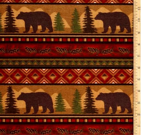 Cotton,Flannel,Quilt,Fabric,Big,Country,Bear,Stripe,Brown,Adirondack,Pines,,quilt backing, dresses, quilt fabric,cotton material,auntie chris quilt,sewing,crafts,quilting,online fabric,sale fabric