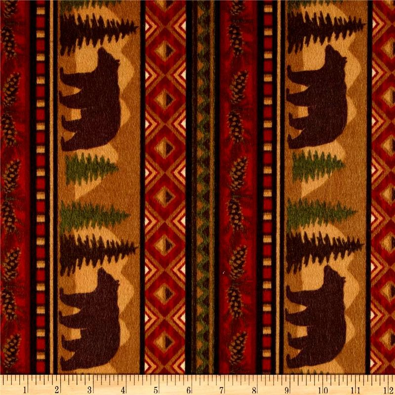 Cotton Flannel Quilt Fabric Big Country Bear Stripe Brown Adirondack Pines - product images  of