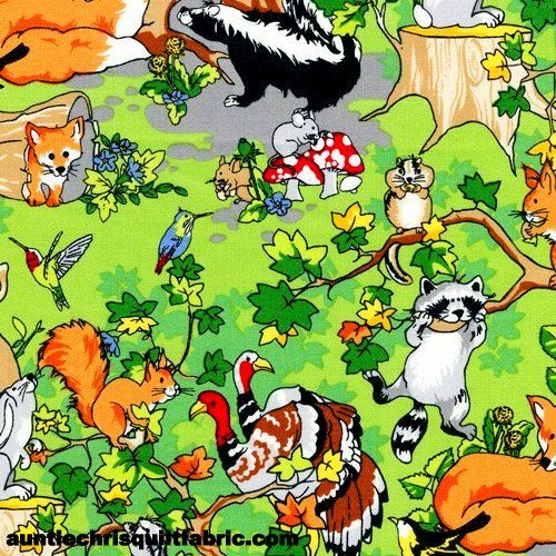 Cotton Quilt Fabric Fabri-Quilt Krazy Kritters Animal Forest - product image