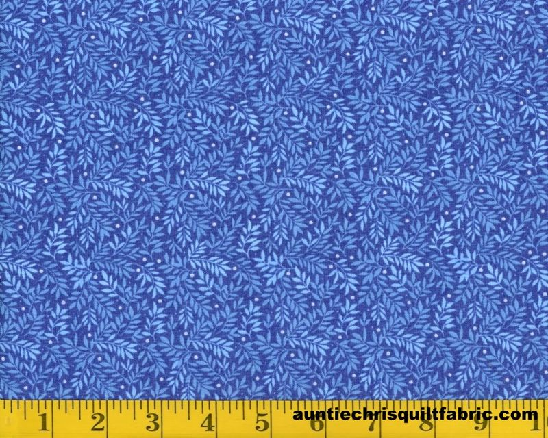 Cotton Quilt Fabric Fabri Quilt Bear Hugs Leaf Print Blue 11229441 - product image