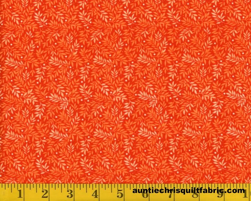 Cotton Quilt Fabric Fabri Quilt Bear Hugs Leaf Print Orange 11229441 - product image
