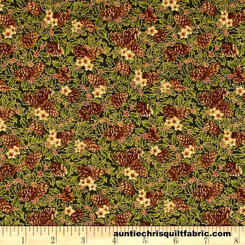 Cotton Quilt Fabric Yuletide Magic Pine Cones Green Christmas - product image