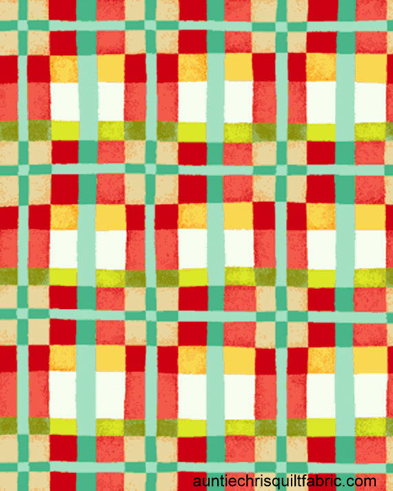 Cotton Quilt Fabric Mischief Happy Plaid in Red Multi Kids Babies - product image