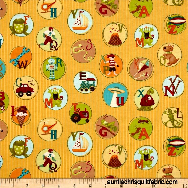 Cotton Quilt Fabric Mischief Play Chips Yellow Kids Alphabet Animals - product images  of