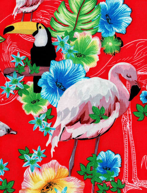 Cotton Quilt Fabric Ocean Ave Tropical Paradise Flamingo Tucan - product images  of