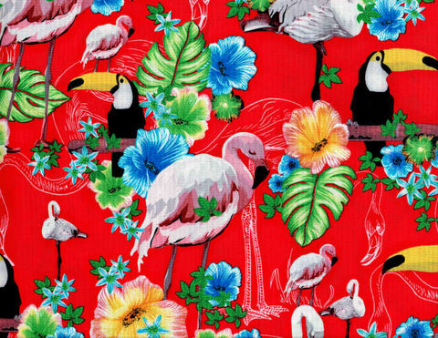 Cotton,Quilt,Fabric,Ocean,Ave,Tropical,Paradise,Flamingo,Tucan,,quilt backing, dresses, quilt fabric,cotton material,auntie chris quilt,sewing,crafts,quilting,online fabric,sale fabric