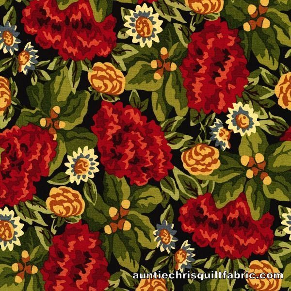 Cotton Quilt Fabric Autumn Landscape Main Large Floral Multi - product image