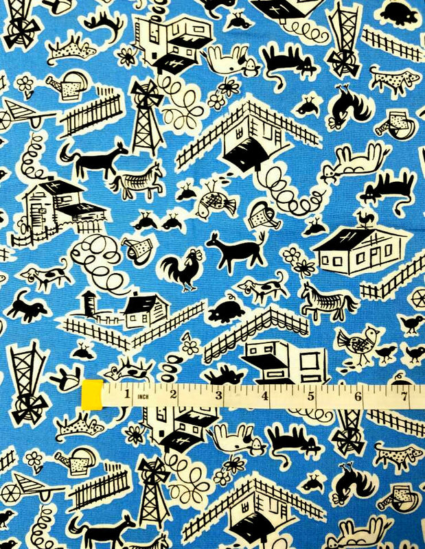 Cotton Quilt Fabric Thirties Reproduction Barnyard Blue Fabric - product images  of