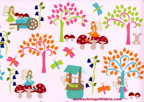 Cotton,Quilt,Fabric,Fairy,Tales,Village,Scene,Pink,,quilt backing, dresses, quilt fabric,cotton material,auntie chris quilt,sewing,crafts,quilting,online fabric,sale fabric