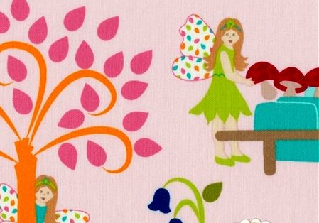 Cotton Quilt Fabric Fairy Tales Village Scene Pink  - product images  of