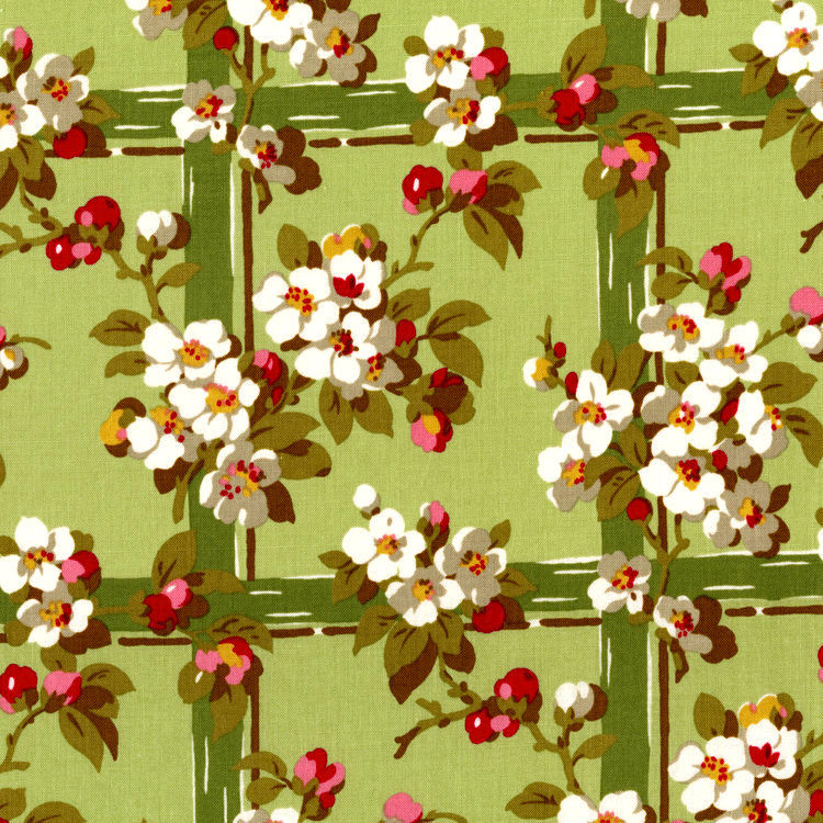 Cotton Quilt Fabric Garden Gate Green Trellis Florals SKU# 2801-02 - product images  of