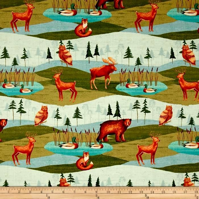 Cotton Quilt Fabric Wild Woods Animal Scenic Multi Folk Art - product images  of