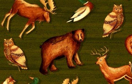 Cotton Quilt Fabric Wild Woods Tossed Animals Moose Deer Bear - product images  of