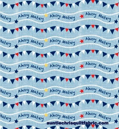 Cotton Quilt Fabric Ahoy Matey Nautical Banner Wavy Stripe Blue - product images  of