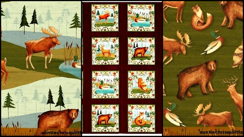 Cotton Quilt Fabric Wild Woods Northeast Animal Scenic Panel Medley - product images  of