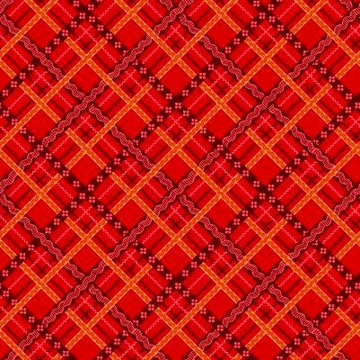 Cotton Quilt Fabric Peaceful Gathering Bias Ribbon Plaid Red - product images  of