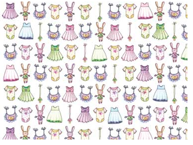Cotton Quilt Fabric A Bundle of Pink Doll Dresses Girls Babies  - product images  of