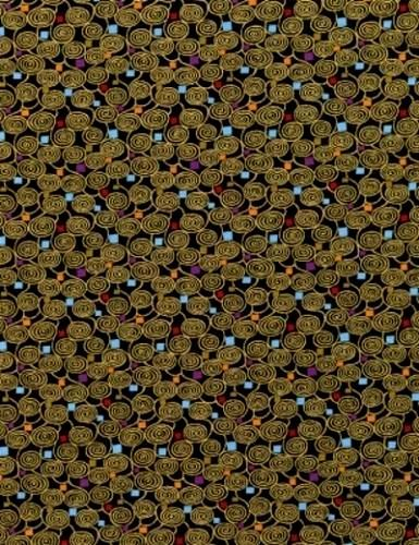 Cotton Quilt Fabric Intrigue Black Small Packed Scrolls Metallic Modern - product images  of