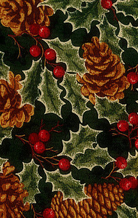 Cotton Quilt Fabric Christmas Remembered Green Pine Cones - product images  of