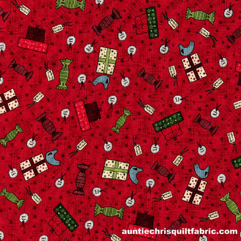 Cotton,Quilt,Fabric,Christmas,Festive,Fun,Gift,Wrap,Red,2779-001,,quilt backing, dresses, quilt fabric,cotton material,auntie chris quilt,sewing,crafts,quilting,online fabric,sale fabric