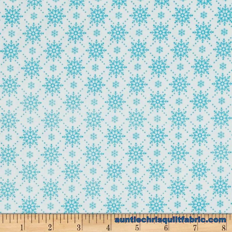 Cotton Quilt Fabric Christmas Christmas Wishes Teal White Snowflakes  - product images  of