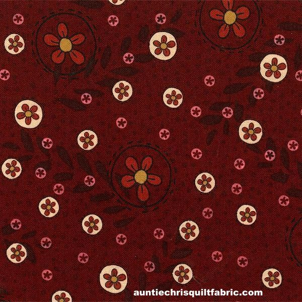 Cotton Quilt Fabric Highland Lynette Anderson Floral Dots Maroon Red - product image