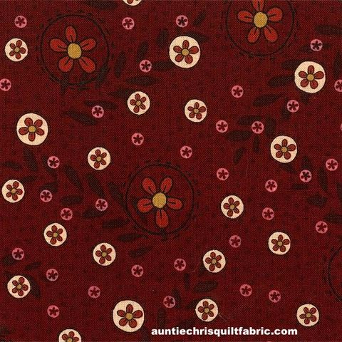 Cotton,Quilt,Fabric,Highland,Lynette,Anderson,Floral,Dots,Maroon,Red,,quilt backing, dresses, quilt fabric,cotton material,auntie chris quilt,sewing,crafts,quilting,online fabric,sale fabric