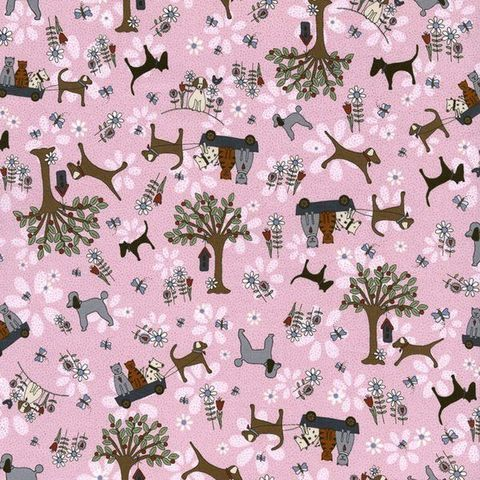 Cotton,Quilt,Fabric,Time,With,Friends,2280,Pink,Flowers,Dogs,Cats,,quilt backing, dresses, quilt fabric,cotton material,auntie chris quilt,sewing,crafts,quilting,online fabric,sale fabric