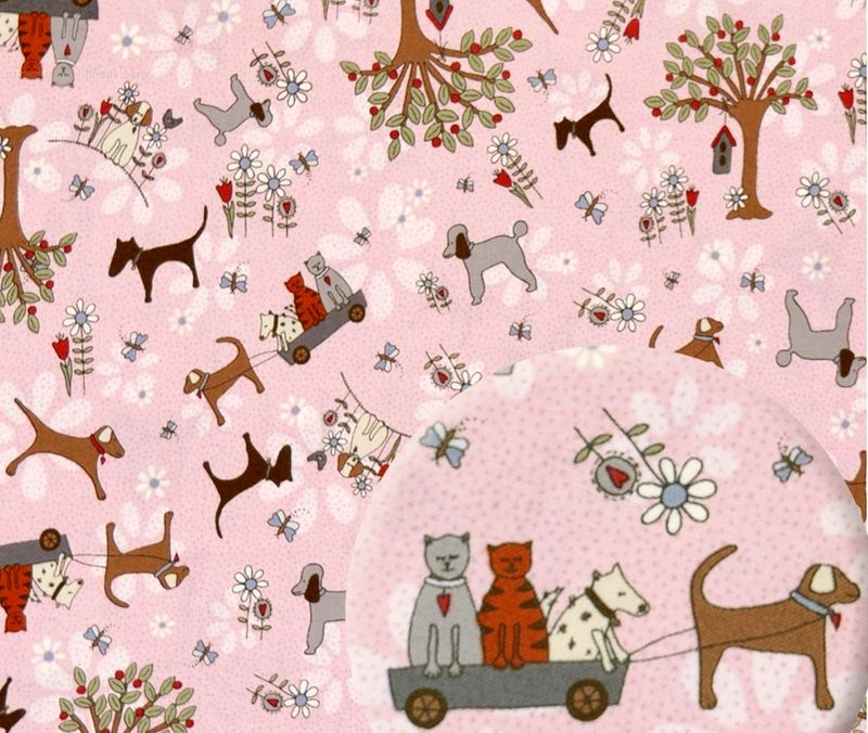 Cotton Quilt Fabric Time With Friends 2280 Pink Flowers Dogs Cats - product images  of