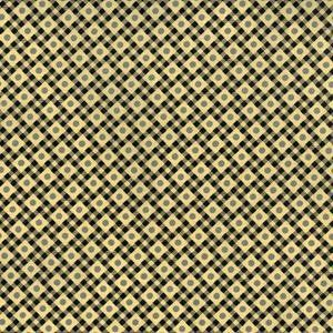 Cotton Quilt Fabric Vintage Made Modern Chain Stitch In Cream Black Check - product images  of