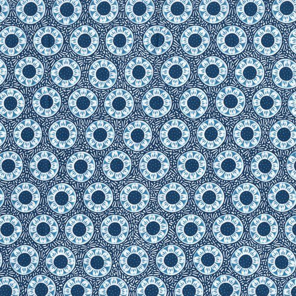Cotton Quilt Fabric Chirp Blue Flowers Alex Anderson RJR - product image