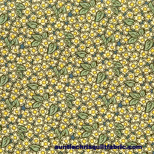 Cotton Quilt Fabric Home Again Small Floral Blue Yellow 1495 - product image