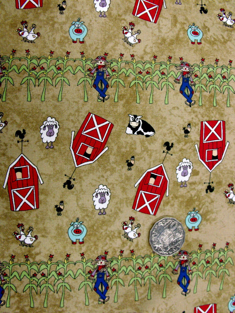 Cotton Quilt Fabric Farm Doodles Farm Pig Sheep Cows