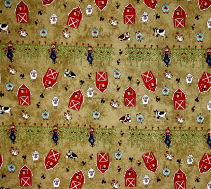 Cotton Quilt Fabric Farm Doodles Farm Pig Sheep Cows Scarecrows Green  - product images  of