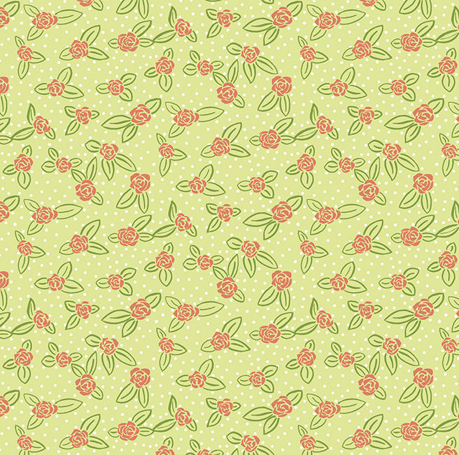 Cotton Quilt Fabric Rosebuds Spring Green Pink Floral Dot - product image