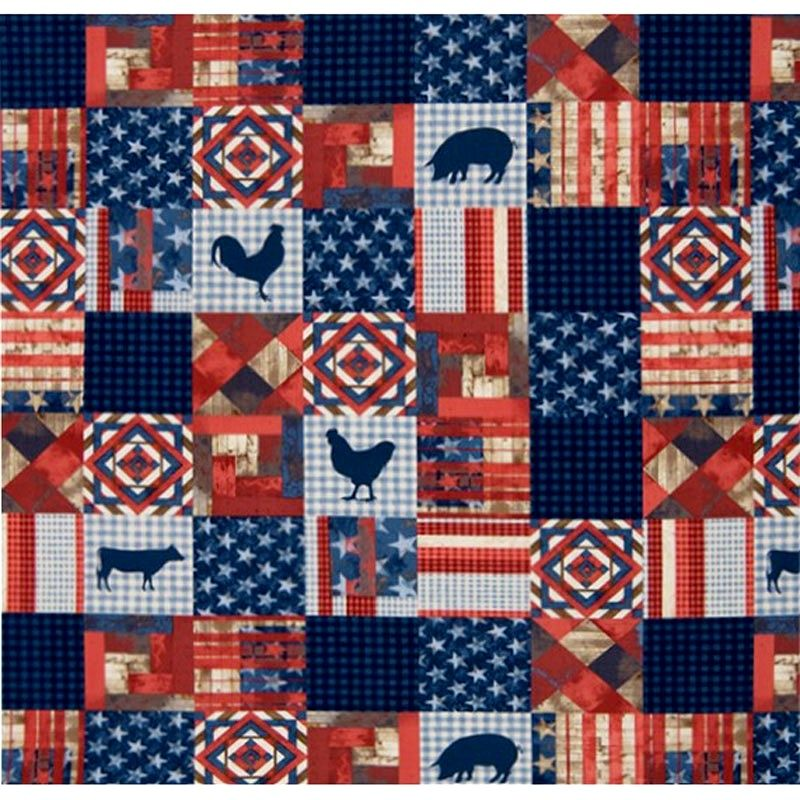 Cotton Quilt Fabric 4th on the Farm Patchwork Quilt Americana  - product images  of