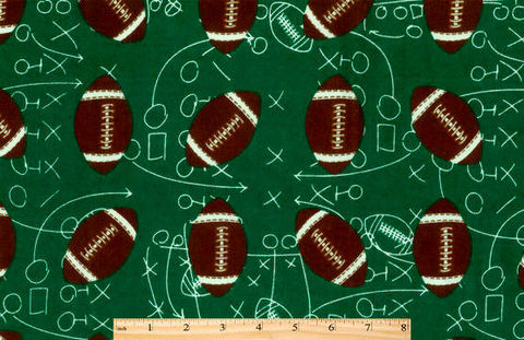 Cotton,Flannel,Quilt,Fabric,Snuggle,Footballs,On,Green,,quilt backing, dresses, quilt fabric,cotton material,auntie chris quilt,sewing,crafts,quilting,online fabric,sale fabric