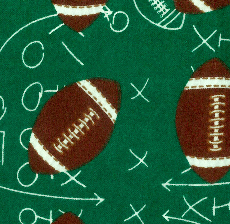 Cotton Flannel Quilt Fabric Snuggle Footballs On Green - product images  of