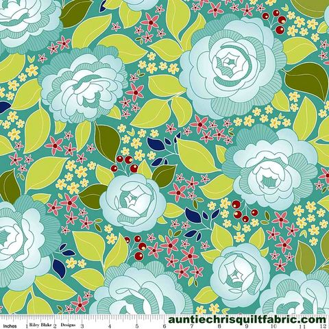 Cotton,Quilt,Fabric,Into,The,Garden,Amanda,Herring,C5590,Teal,Main,,quilt backing, dresses, quilt fabric,cotton material,auntie chris quilt,sewing,crafts,quilting,online fabric,sale fabric