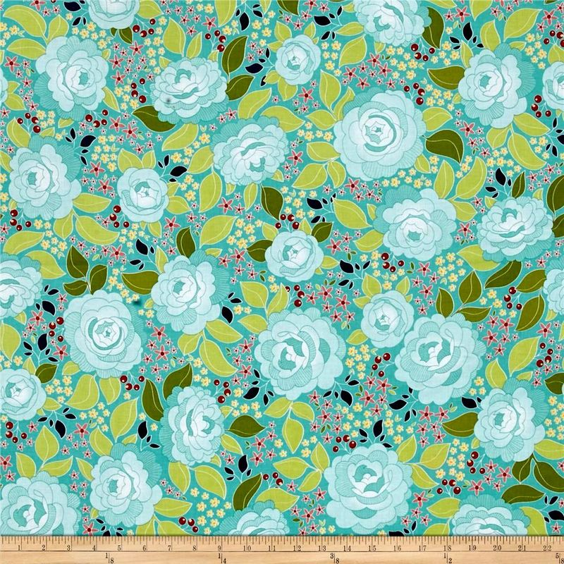 Cotton Quilt Fabric Into The Garden Amanda Herring C5590 Teal Main - product images  of