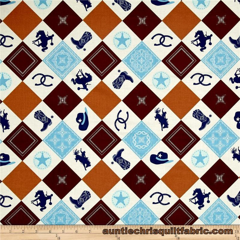 Cotton Quilt Fabric Riley Blake Cowboy Main Brown Horses Western Blue - product images  of