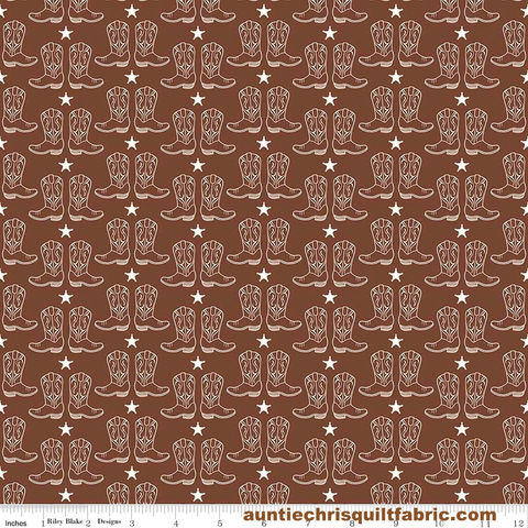 Cotton,Quilt,Fabric,Riley,Blake,Cowboy,Boots,Horses,Western,Brown,,quilt backing, dresses, quilt fabric,cotton material,auntie chris quilt,sewing,crafts,quilting,online fabric,sale fabric
