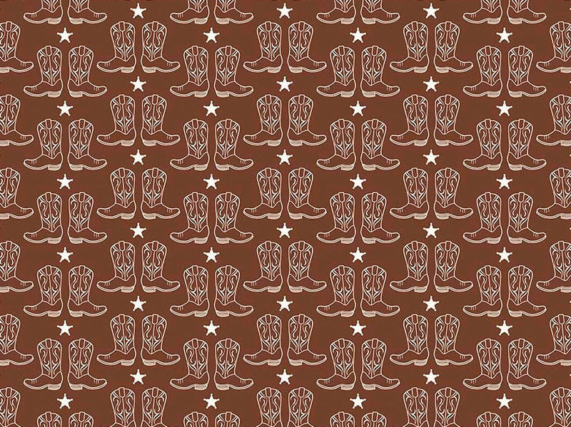 Cotton Quilt Fabric Riley Blake Cowboy Boots Horses Western Brown - product images  of