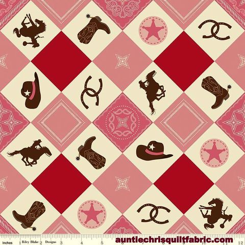 Cotton,Quilt,Fabric,Riley,Blake,Cowgirl,Main,Boots,Horses,Western,Pink,,quilt backing, dresses, quilt fabric,cotton material,auntie chris quilt,sewing,crafts,quilting,online fabric,sale fabric