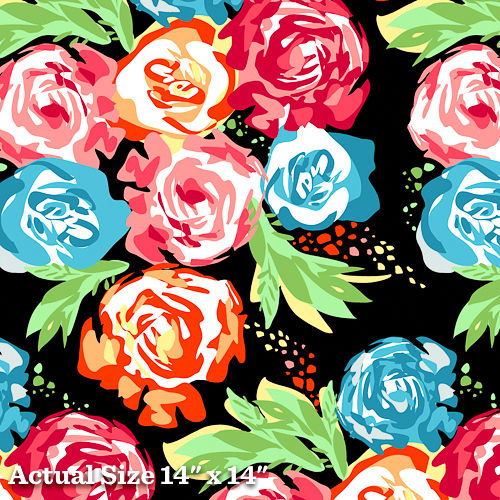 Cotton Quilt Fabric An American In Paris Large Floral Black Multi  - product images  of