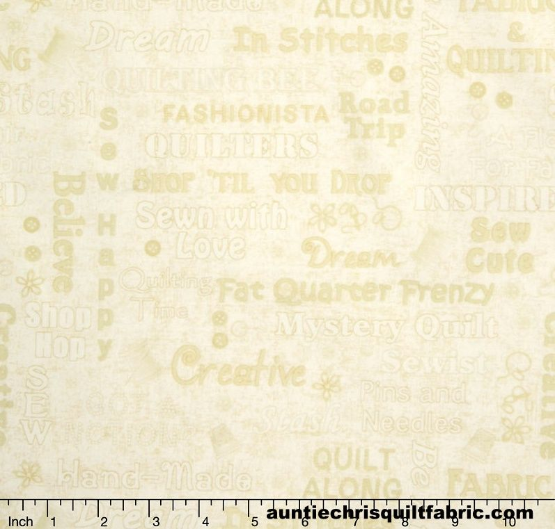 Good Buy Slight Flaw Cotton Quilt Fabric Shop Hop Words Texture Cream Sewing Words - product images  of