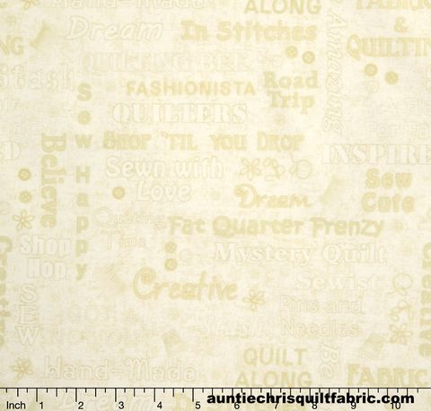 Cotton,Quilt,Fabric,Shop,Hop,Words,Texture,Cream,Sewing,,quilt backing, dresses, quilt fabric,cotton material,auntie chris quilt,sewing,crafts,quilting,online fabric,sale fabric