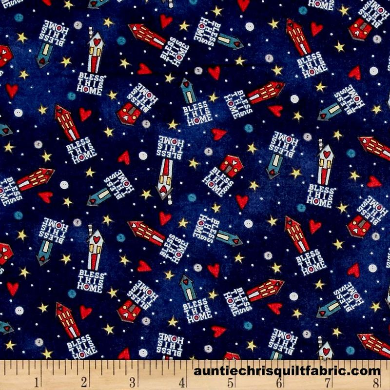 Cotton Quilt Fabric Bless This Home Tiny Houses Toss Navy Blue - product images  of